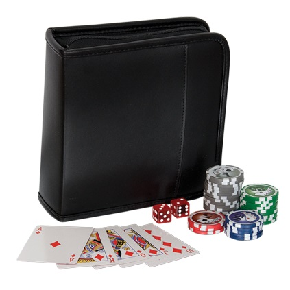Bonded Leather Travel Poker Set